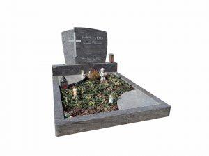 Grabstein mit Halbkreise als Stein
